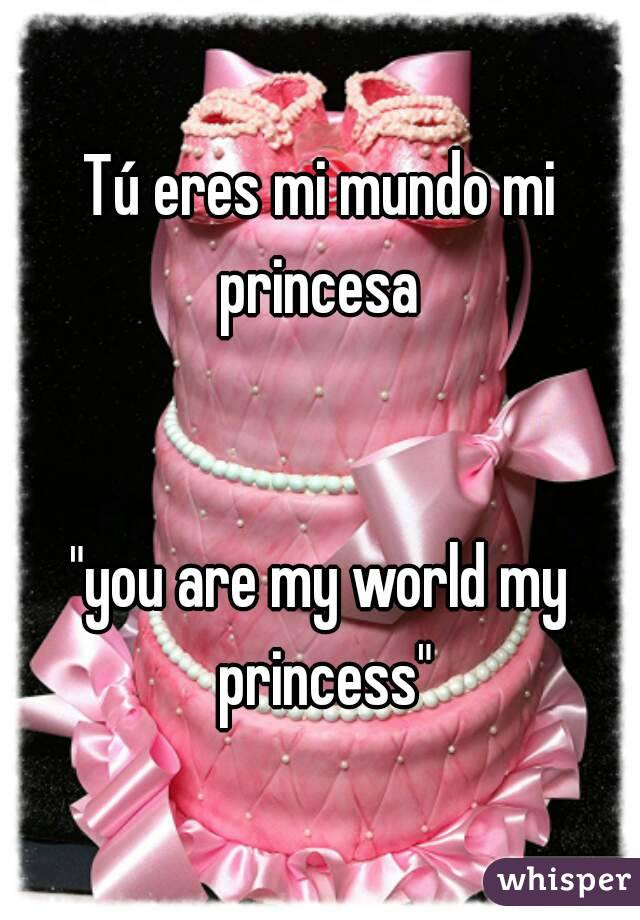 "Tú eres mi mundo mi princesa    ""you are my world my princess"""