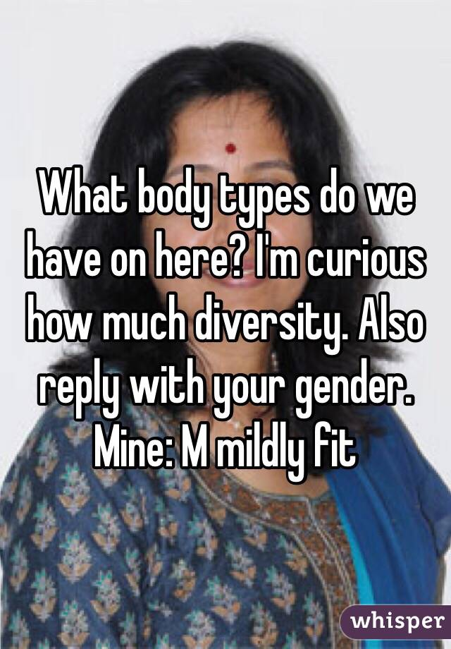 What body types do we have on here? I'm curious how much diversity. Also reply with your gender. Mine: M mildly fit