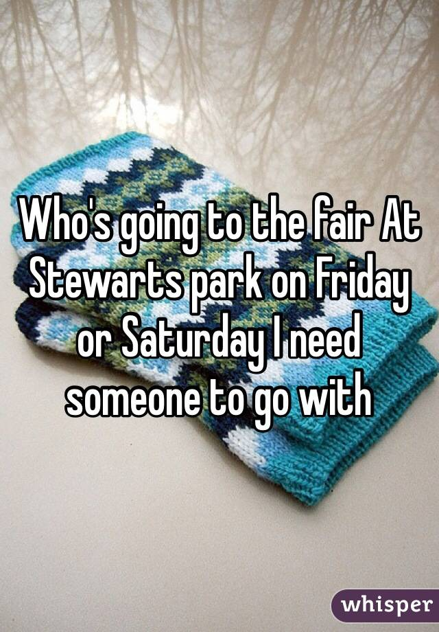 Who's going to the fair At Stewarts park on Friday or Saturday I need someone to go with