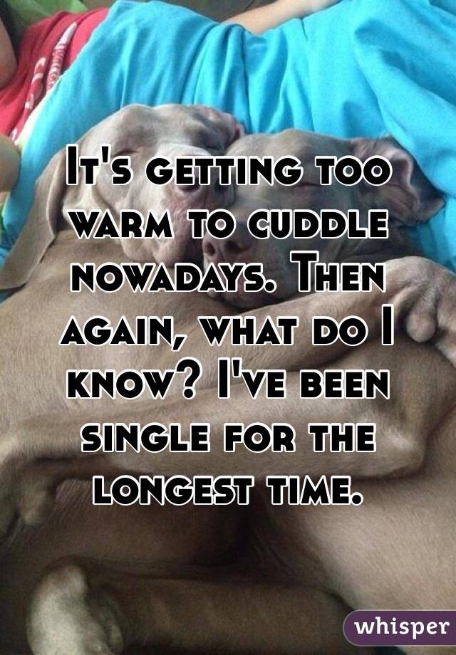 It's getting too warm to cuddle nowadays. Then again, what do I know? I've been single for the longest time.