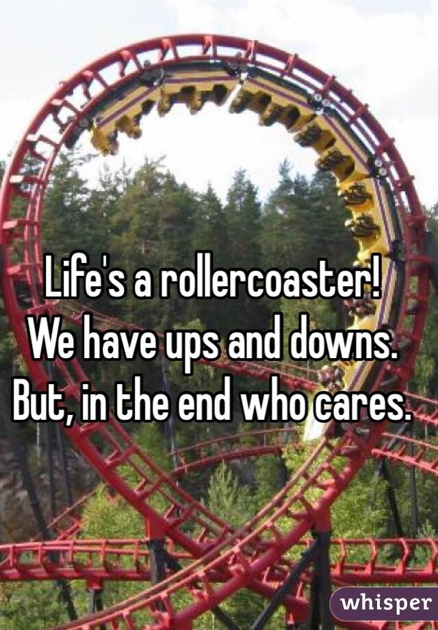 Life's a rollercoaster!  We have ups and downs. But, in the end who cares.
