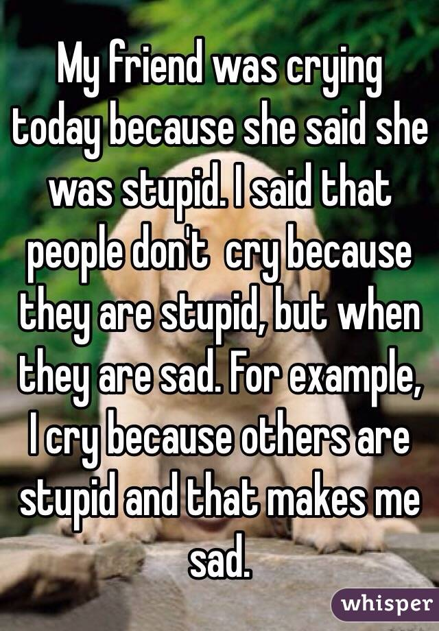 My friend was crying today because she said she was stupid. I said that people don't  cry because they are stupid, but when they are sad. For example, I cry because others are stupid and that makes me sad.