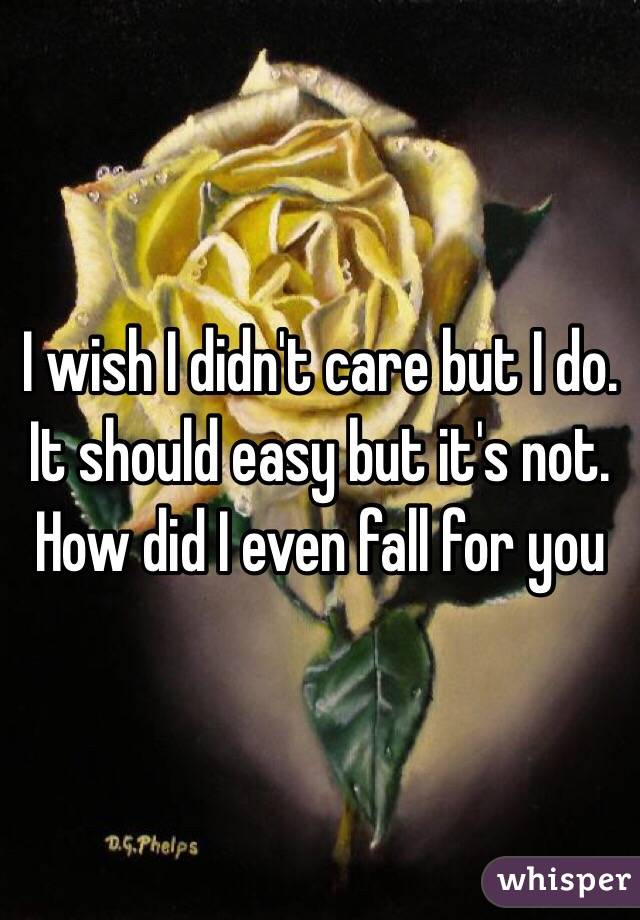 I wish I didn't care but I do. It should easy but it's not.  How did I even fall for you