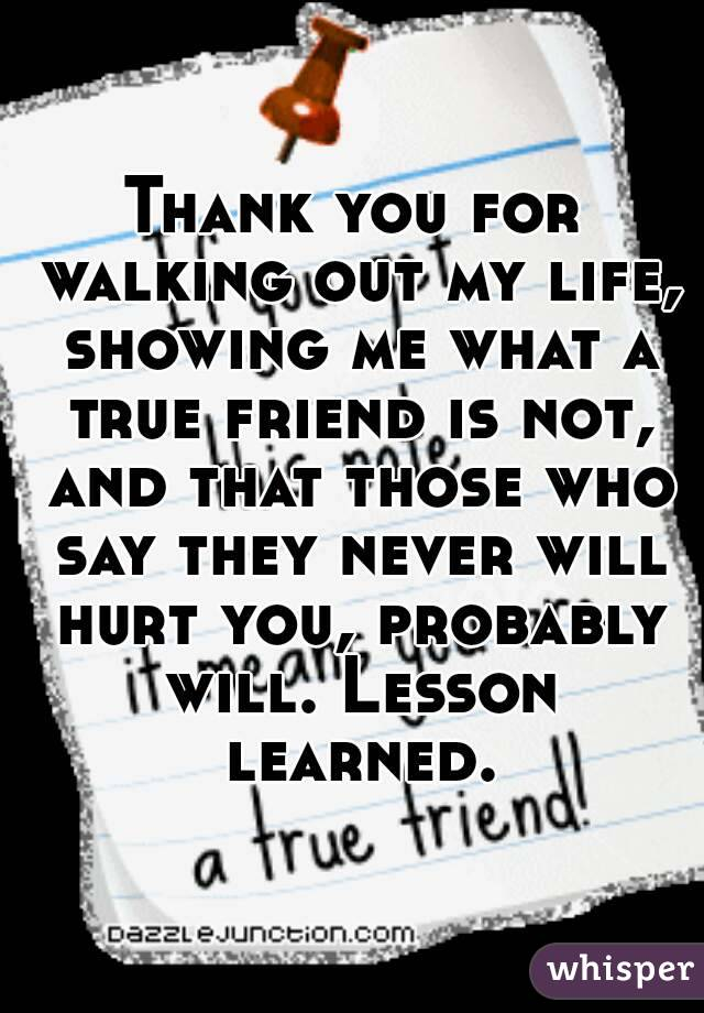 Thank you for walking out my life, showing me what a true friend is not, and that those who say they never will hurt you, probably will. Lesson learned.