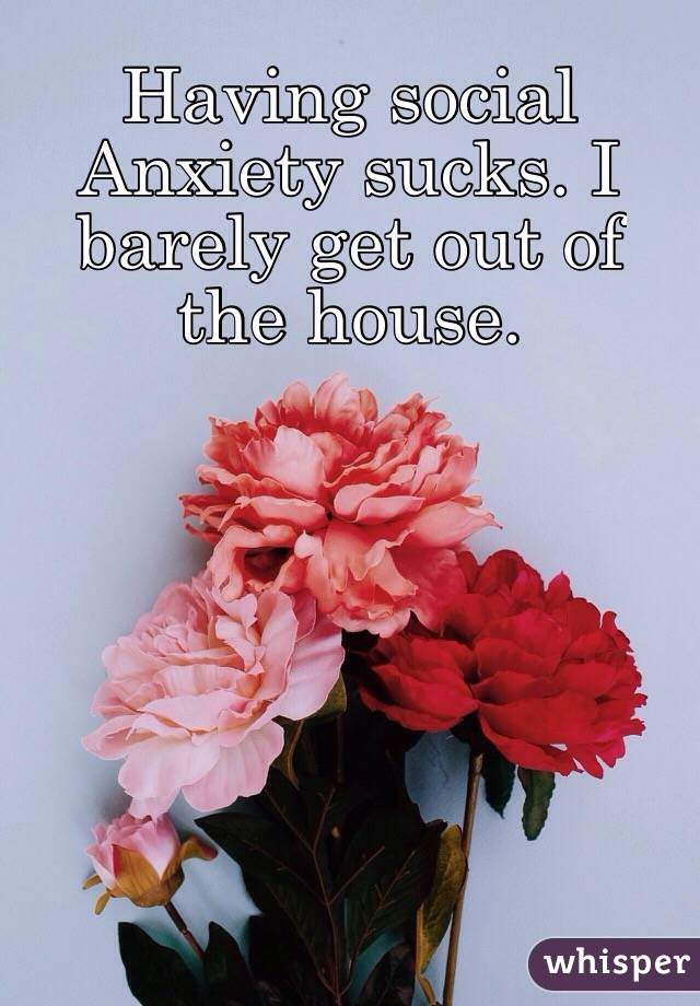 Having social Anxiety sucks. I barely get out of the house.