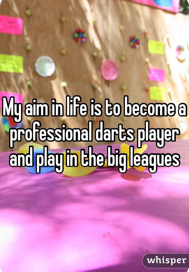 My aim in life is to become a professional darts player and play in the big leagues