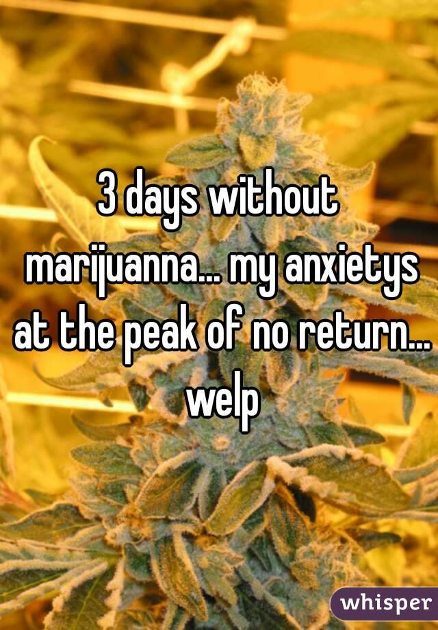 3 days without marijuanna... my anxietys at the peak of no return... welp