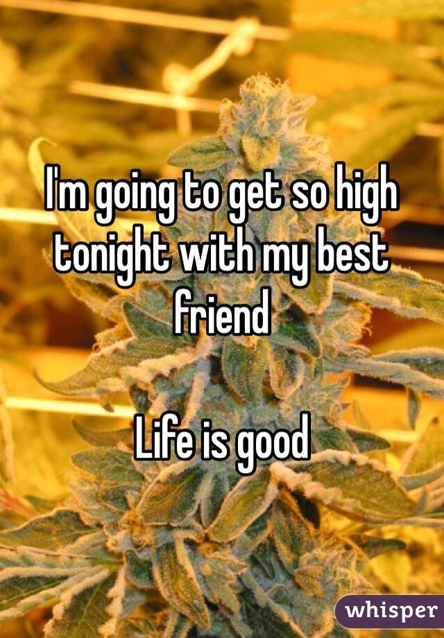 I'm going to get so high tonight with my best friend   Life is good