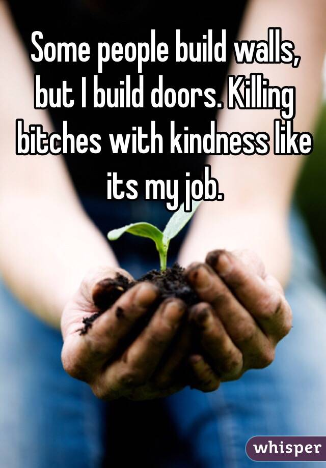 Some people build walls, but I build doors. Killing  bitches with kindness like its my job.