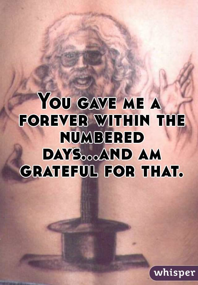 You gave me a forever within the numbered days...and am grateful for that.