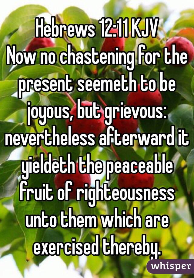 ‭Hebrews‬ ‭12‬:‭11‬ KJV Now no chastening for the present seemeth to be joyous, but grievous: nevertheless afterward it yieldeth the peaceable fruit of righteousness unto them which are exercised thereby.