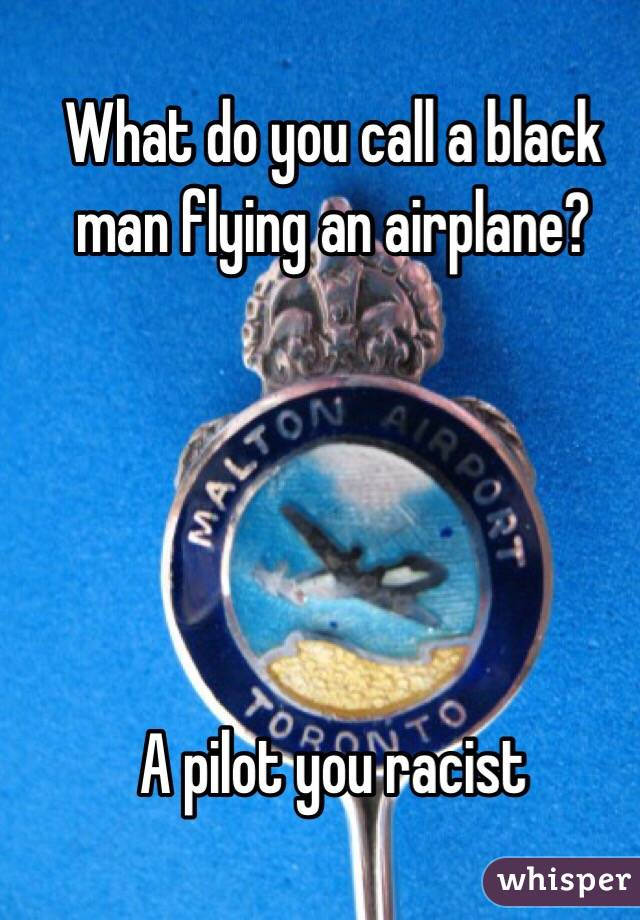What do you call a black man flying an airplane?      A pilot you racist