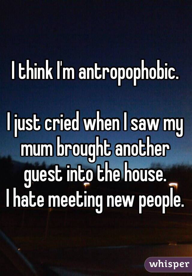 I think I'm antropophobic.  I just cried when I saw my mum brought another guest into the house. I hate meeting new people.