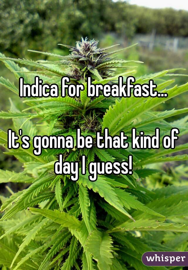 Indica for breakfast...  It's gonna be that kind of day I guess!