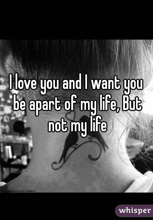 I love you and I want you be apart of my life, But not my life