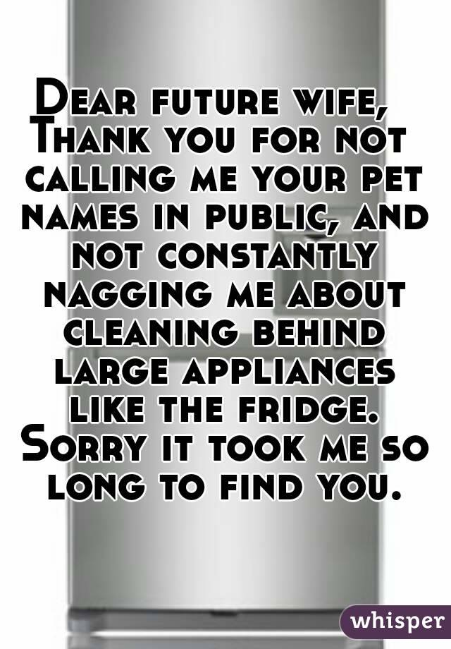 Dear future wife,  Thank you for not calling me your pet names in public, and not constantly nagging me about cleaning behind large appliances like the fridge. Sorry it took me so long to find you.