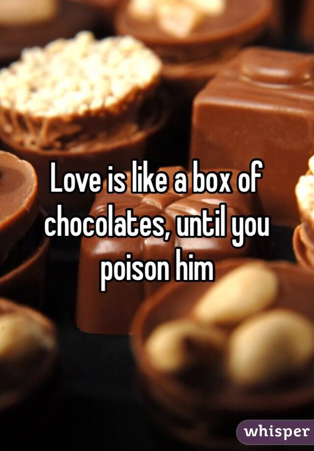 Love is like a box of chocolates, until you  poison him