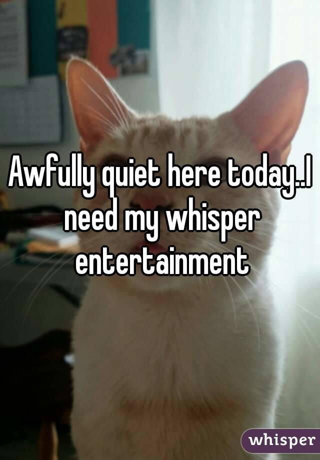 Awfully quiet here today..I need my whisper entertainment
