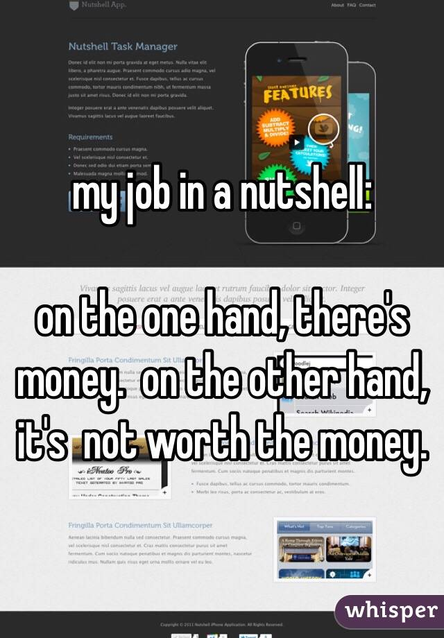 my job in a nutshell:   on the one hand, there's money.  on the other hand, it's  not worth the money.