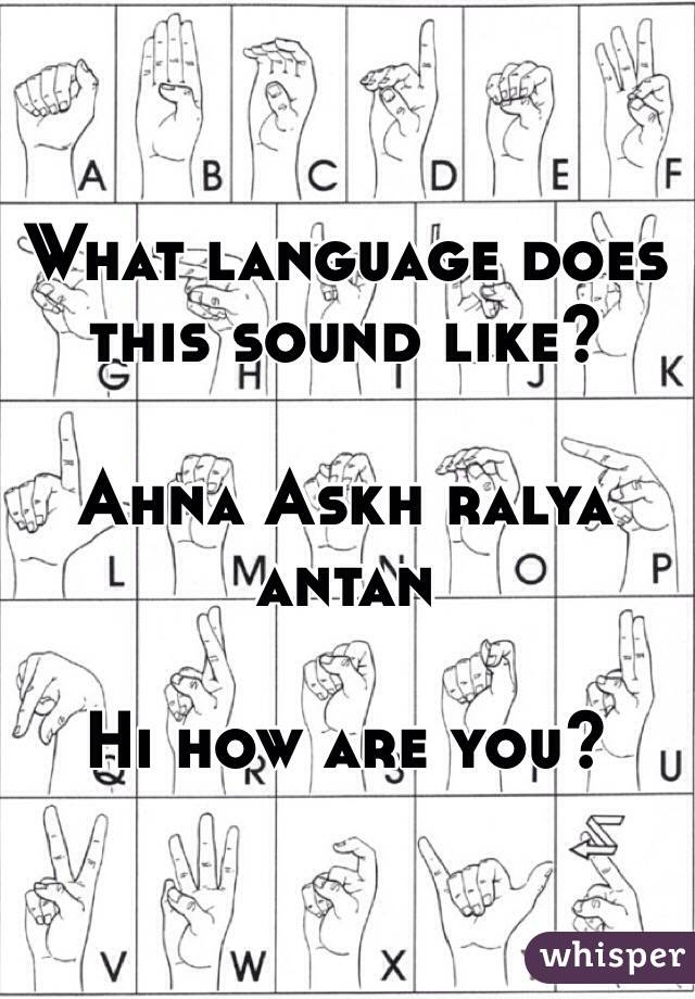 What language does this sound like?  Ahna Askh ralya antan  Hi how are you?