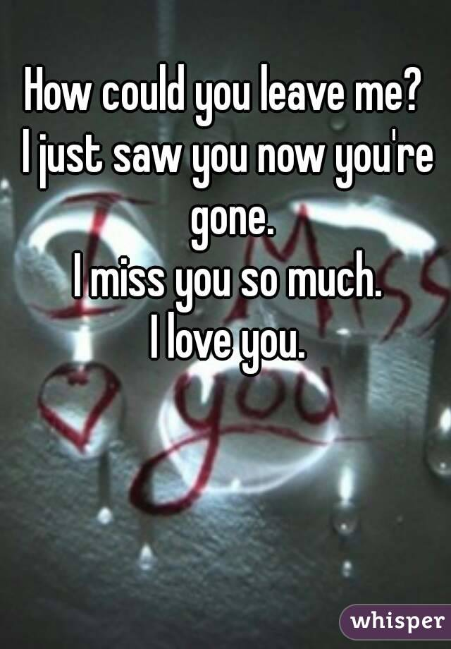 How could you leave me?  I just saw you now you're gone. I miss you so much. I love you.