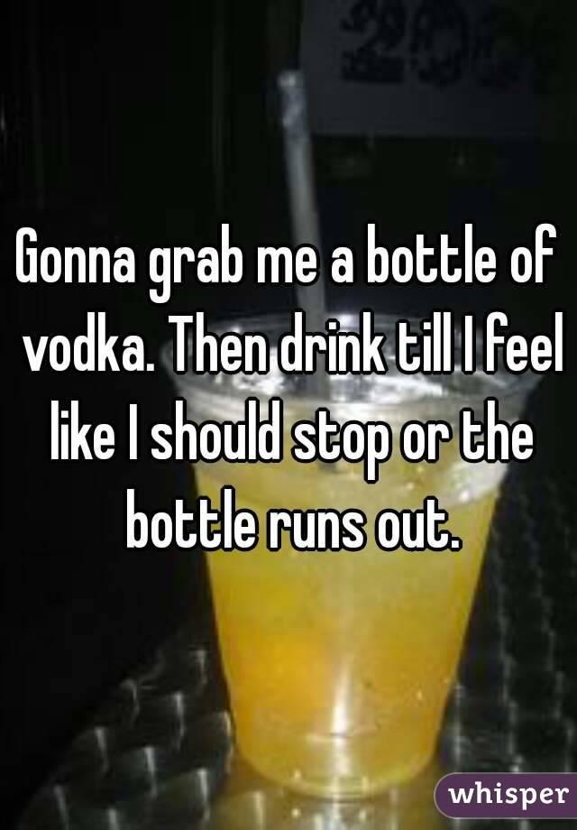 Gonna grab me a bottle of vodka. Then drink till I feel like I should stop or the bottle runs out.