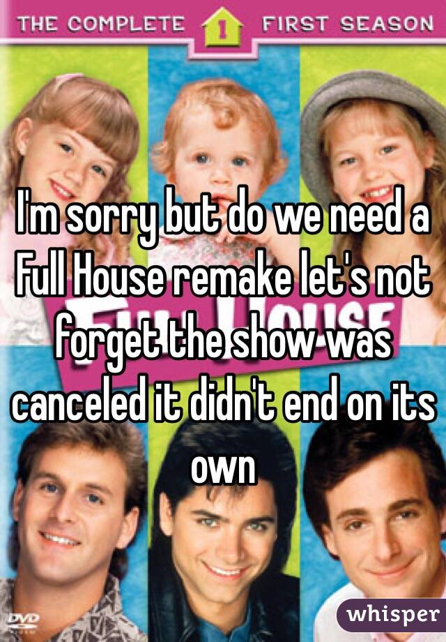 I'm sorry but do we need a Full House remake let's not forget the show was canceled it didn't end on its own