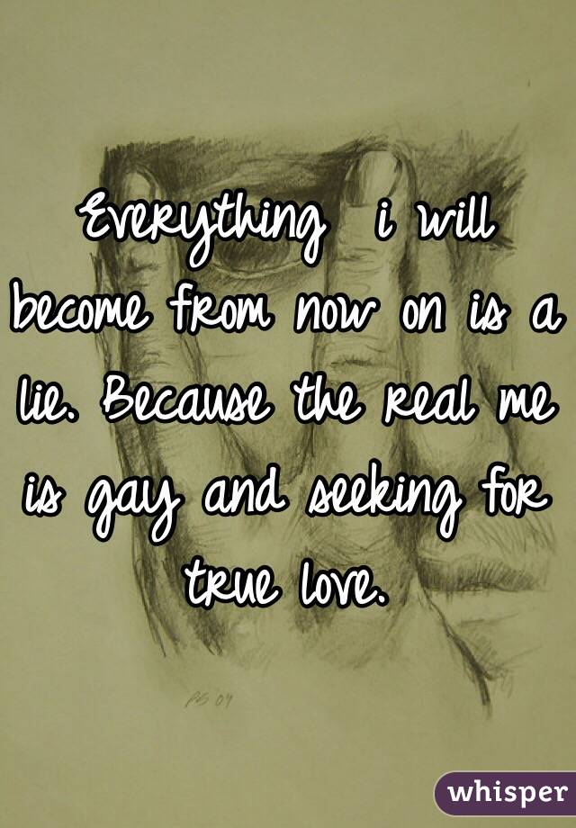 Everything  i will become from now on is a lie. Because the real me is gay and seeking for true love.