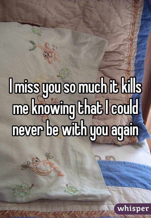 I miss you so much it kills me knowing that I could never be with you again