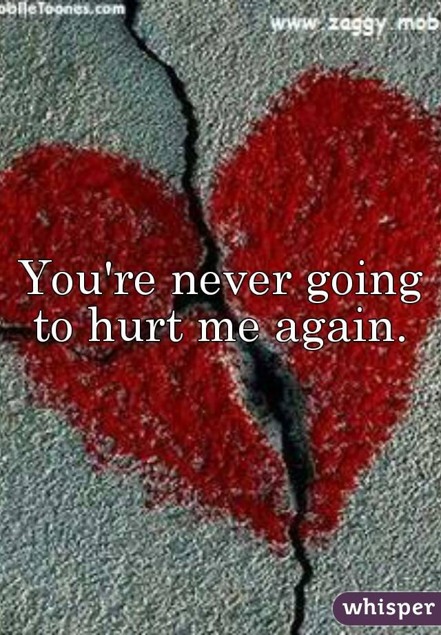 You're never going to hurt me again.