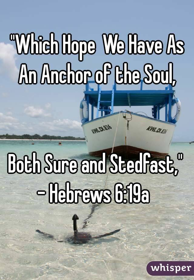 """Which Hope We Have As An Anchor of the Soul,                Both Sure and Stedfast,""  - Hebrews 6:19a"