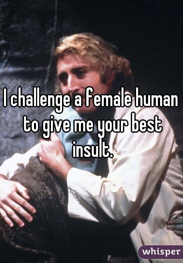 I challenge a female human to give me your best insult.
