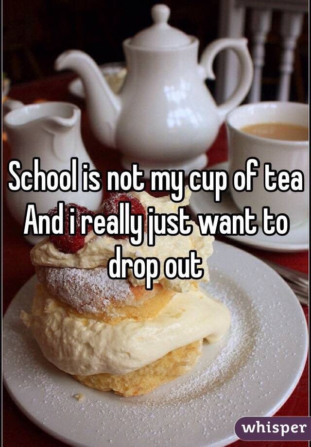 School is not my cup of tea  And i really just want to drop out