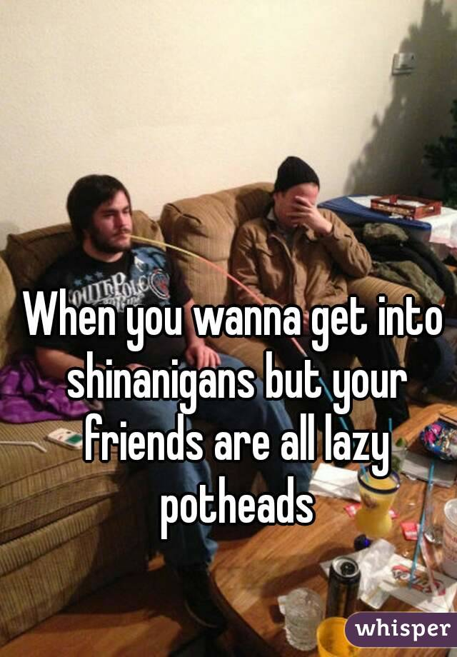 When you wanna get into shinanigans but your friends are all lazy potheads