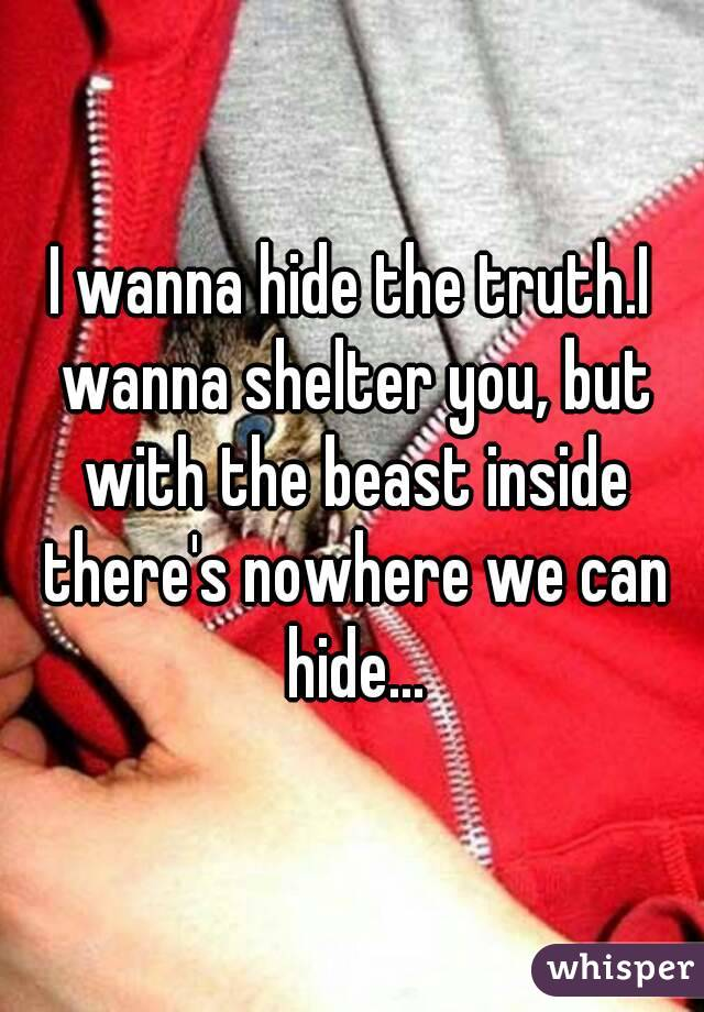 I wanna hide the truth.I wanna shelter you, but with the beast inside there's nowhere we can hide...