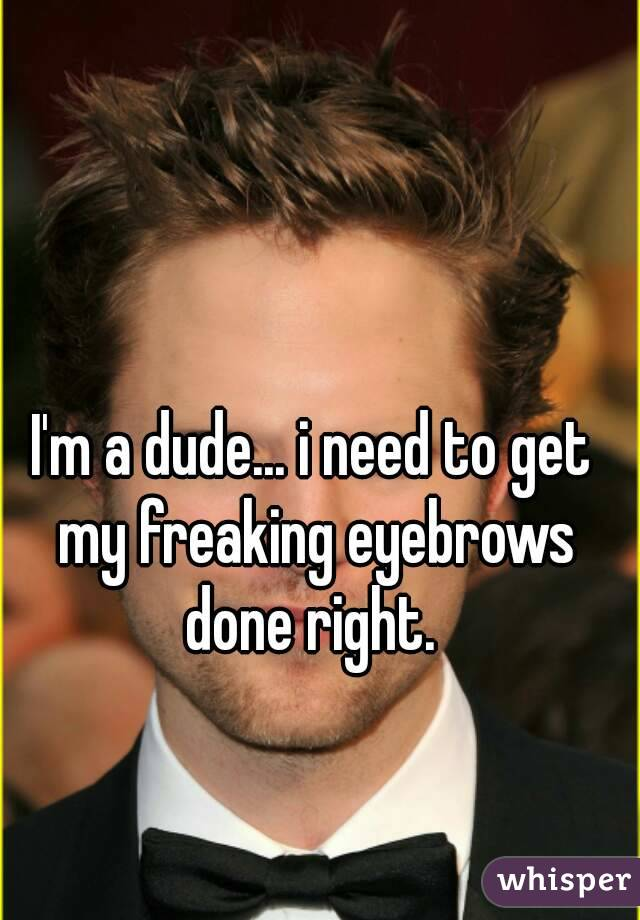 I'm a dude... i need to get my freaking eyebrows done right.