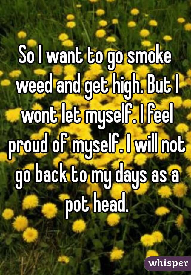 So I want to go smoke weed and get high. But I wont let myself. I feel proud of myself. I will not go back to my days as a pot head.