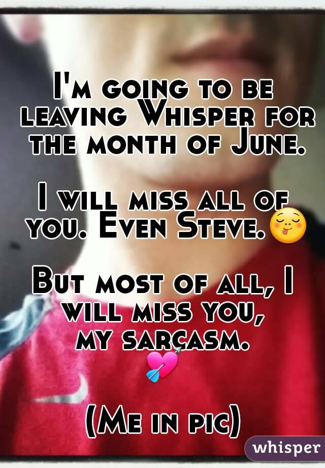 I'm going to be leaving Whisper for the month of June.  I will miss all of you. Even Steve.😋  But most of all, I will miss you,  my sarcasm. 💘  (Me in pic)