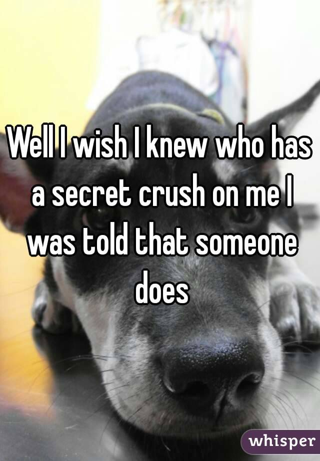Well I wish I knew who has a secret crush on me I was told that someone does