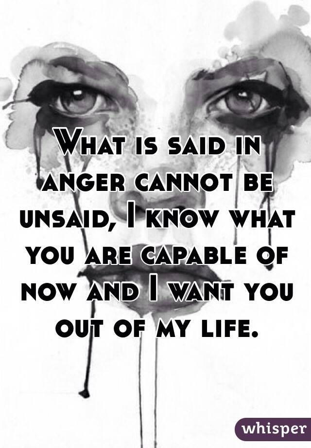 What is said in anger cannot be unsaid, I know what you are capable of now and I want you out of my life.