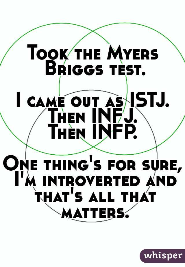 Took the Myers Briggs test.  I came out as ISTJ. Then INFJ. Then INFP.  One thing's for sure, I'm introverted and that's all that matters.