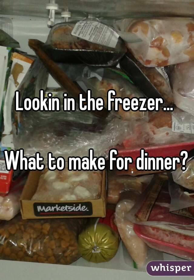 Lookin in the freezer...   What to make for dinner?