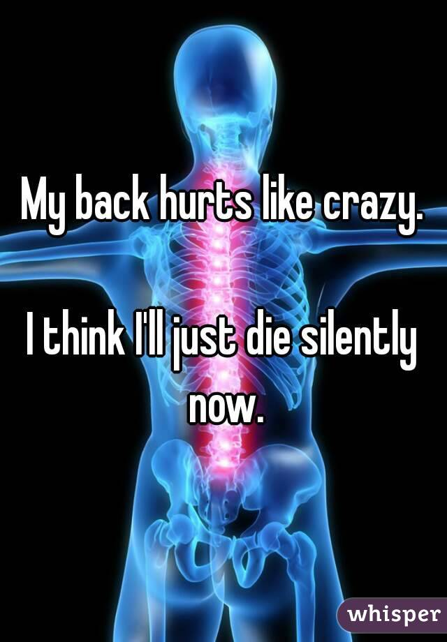My back hurts like crazy.  I think I'll just die silently now.