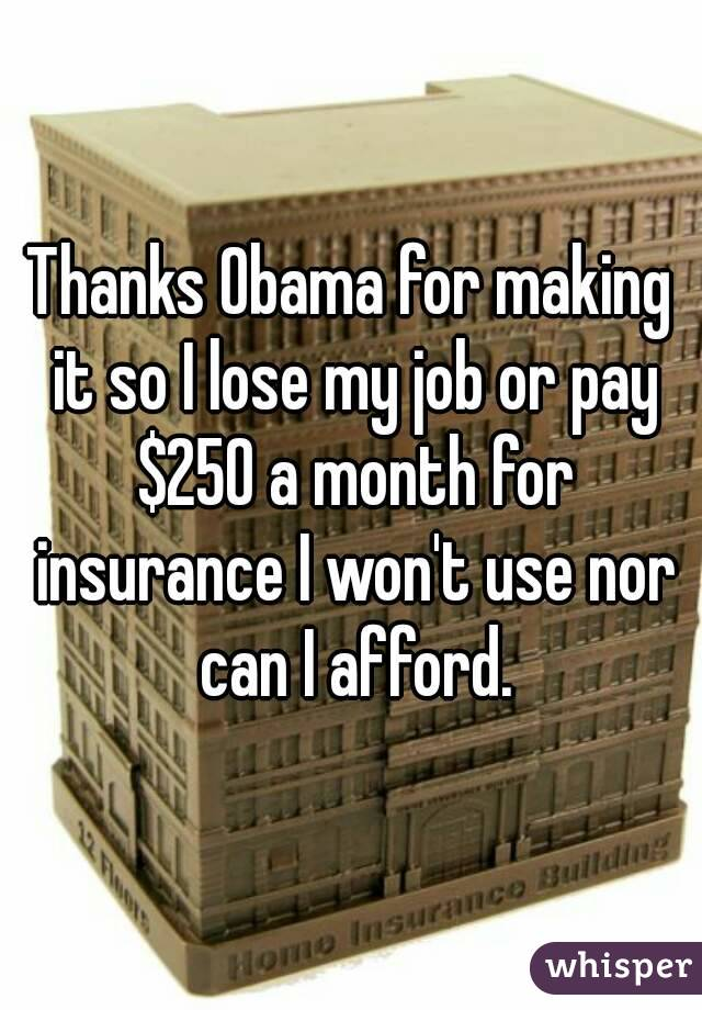Thanks Obama for making it so I lose my job or pay $250 a month for insurance I won't use nor can I afford.