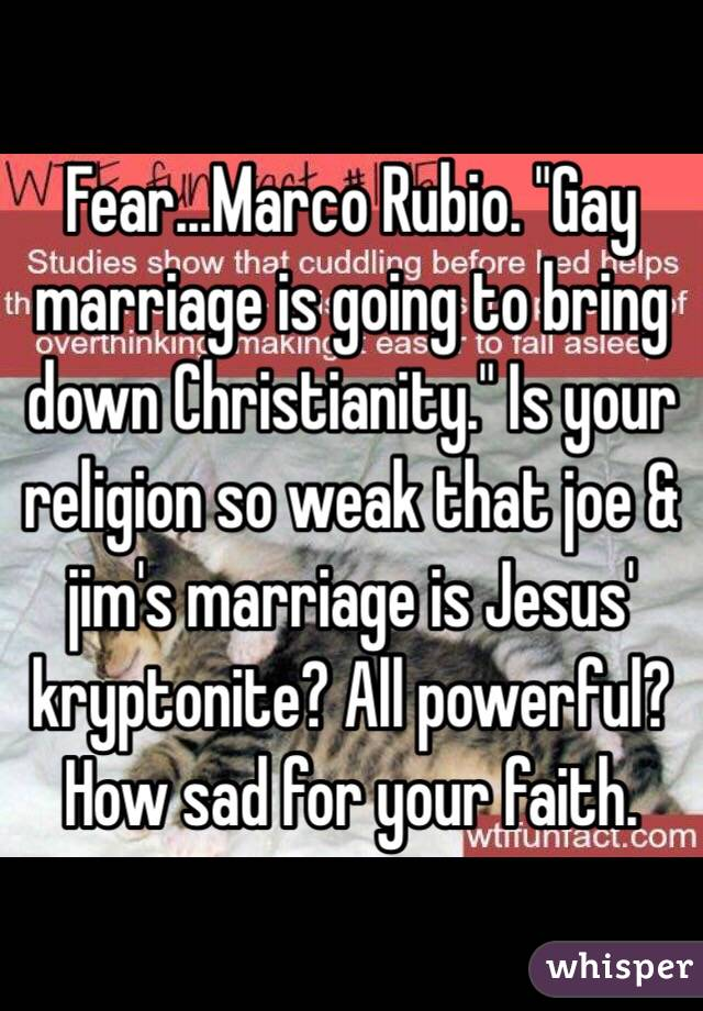 """Fear...Marco Rubio. """"Gay marriage is going to bring down Christianity."""" Is your religion so weak that joe & jim's marriage is Jesus' kryptonite? All powerful? How sad for your faith."""