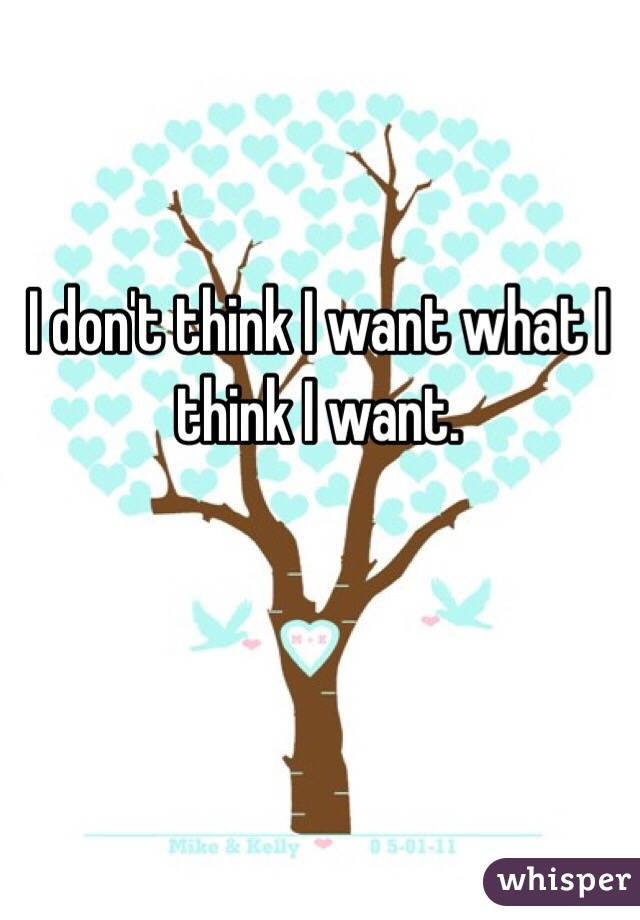 I don't think I want what I think I want.