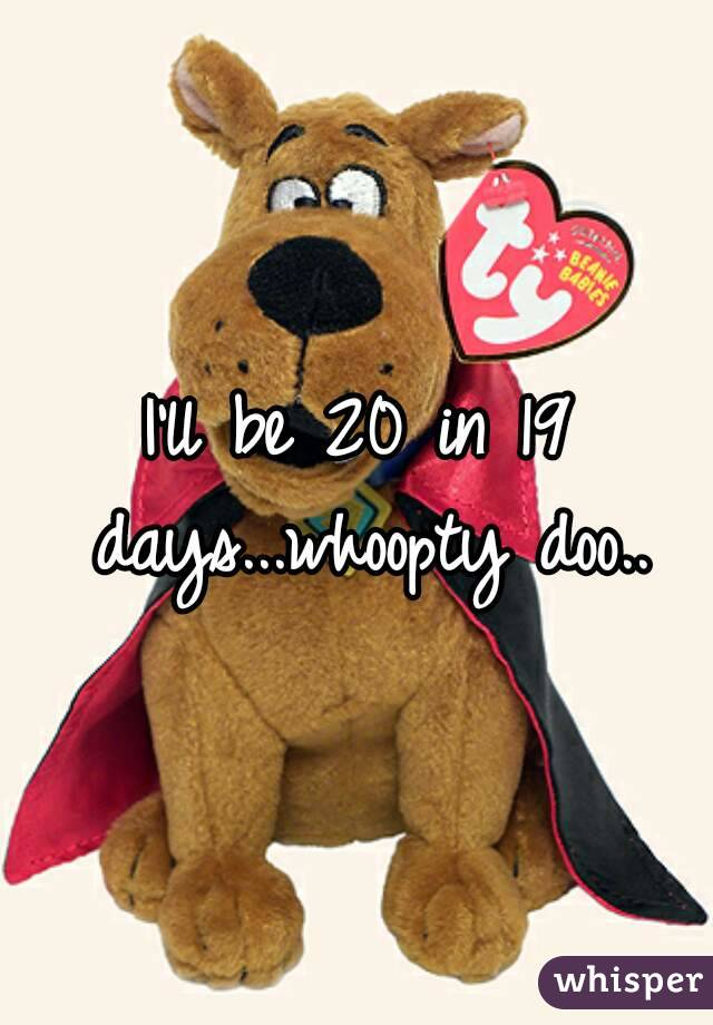 I'll be 20 in 19 days...whoopty doo..