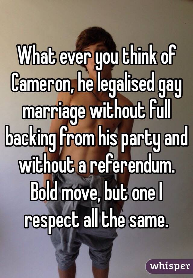 What ever you think of Cameron, he legalised gay marriage without full backing from his party and without a referendum. Bold move, but one I respect all the same.