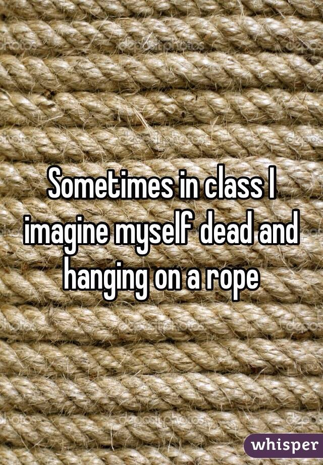 Sometimes in class I imagine myself dead and hanging on a rope