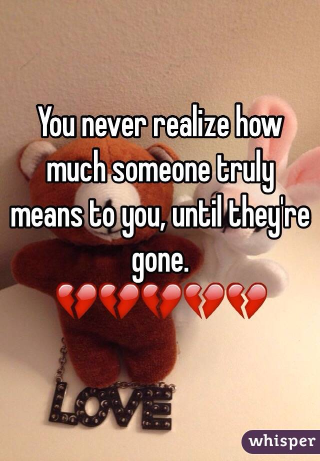 You never realize how much someone truly means to you, until they're gone.  💔💔💔💔💔